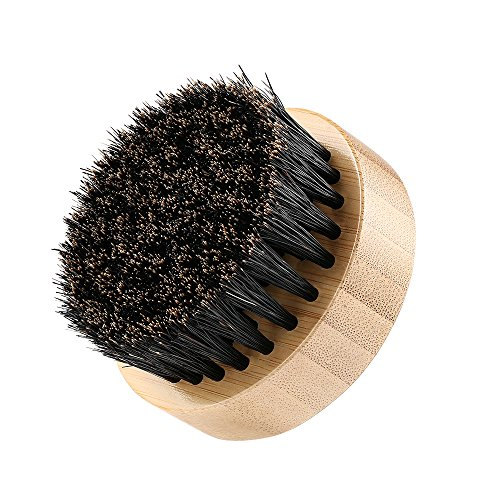Plemo Bartbürste Bare Pinsel Bartpflege Bartkamm aus Wildschweinborsten zur Schnurrbartpflege und -Styling mit Hochwertiger Aufbewahrungsbox (Rund Form)