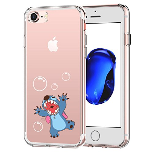 iPhone 7 CASE,iPhone 8 CASE, Stitch Playing Bubble 3D Printed Soft Clear Cute Case