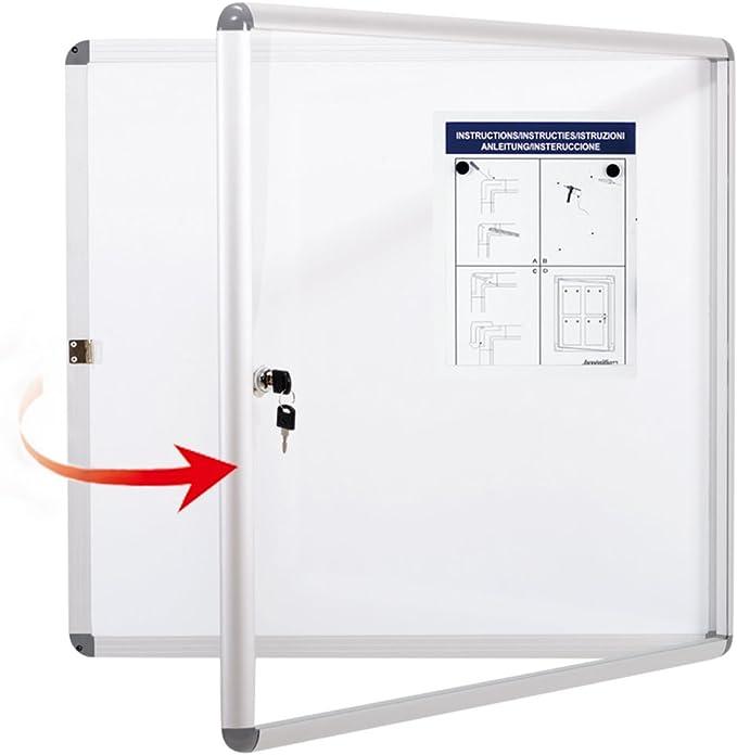 S SWANCROWN Tablón de anuncios adjunto, pizarra magnética de borrado en seco con puerta, vitrina de vidrio para pared, escuela de oficina 6xA4 (67x72cm) Blanco: Amazon.es: Oficina y papelería
