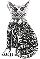 Sterling Silver Sitting Cat Pin with Marcasite Stones and Red Crystal Eyes