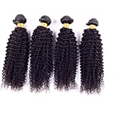 Ruiyu 7A Grade Brazilian Virgin Hair Extensions 4 Bundles Brazilian Kinky Curly Human Hair Weave Natural Color 8 Inches Human Hair Weft Pack of 4
