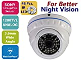 Evertech High Resolution 1200TVL CCTV Surveillance Wide Angle Weatherproof Outdoor Indoor Security Camera Night Vison with 48 Infrared LED Aluminum Alloy Housing White