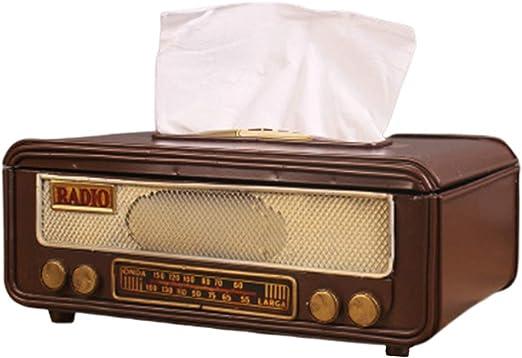 Vosarea Retro Vintage Portapañuelos de Papel Caja de Pañuelos en Forma de Radio Dispensador de Pañuelo Adornos para ...