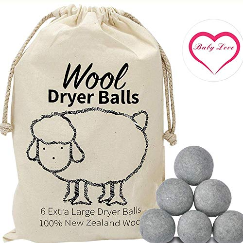 Organic Wool Dryer Balls - 100% Pure New Zealand Wool - Handmade Felted - Natural Fabric Softener - Best Eco-Friendly Reusable Alternative to Dryer Sheets - Great for Cloth Diapers - 6 Pack XL (Grey)