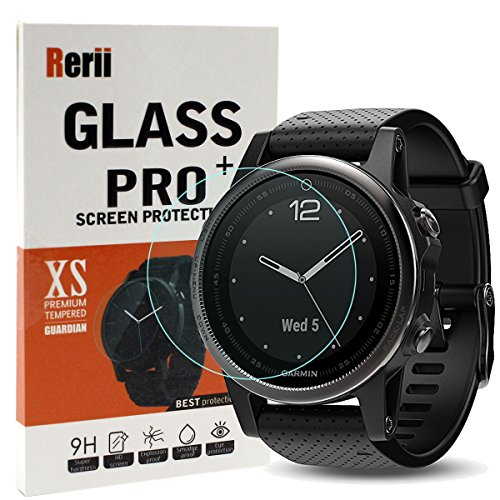 Garmin Fenix 5S Screen Protector, Rerii [2-Pack] High Definition, 9H Hardness, 0.3mm Thickness, Delicate Touch, Real Tempered Glass Screen Protector for Garmin Fenix 5S
