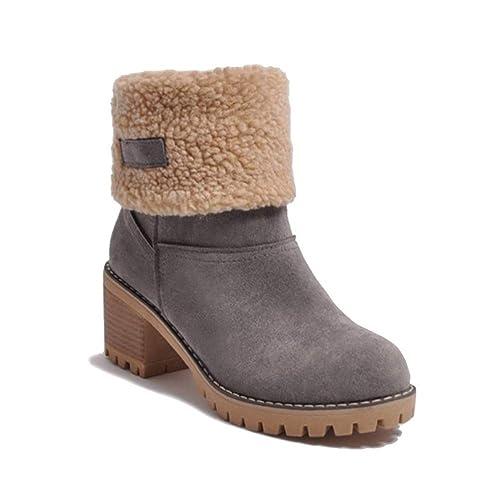Minetom Botas de Nieve Mujer Tacón Medio Botines Botita Moda Felpa Peluche Caliente Antideslizante Impermeable Zapatos Invierno Boots: Amazon.es: Zapatos y ...