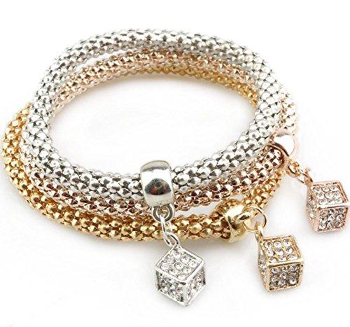 Lovind Fashion Bracelet Geometric Square Pendant Diamond Fancy Design Girl Gift (includes ()