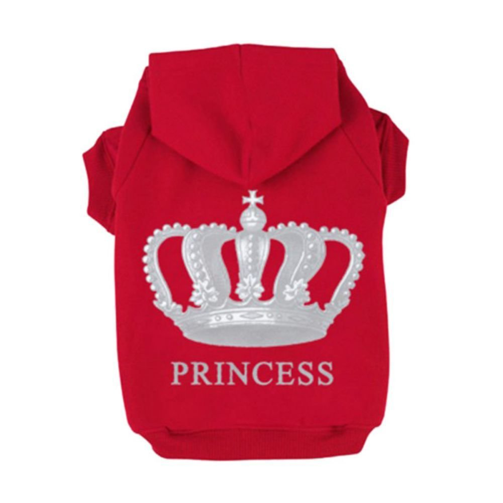 Fleece Dog Hoodies,Rdc Pet Apparel, 'Princess' Imperial Crown Patterns Dog Queen Basic Hoodie Sweater, Cotton Jacket Coat for Small Dog & Medium Dog & Cat (Red) (XXL)