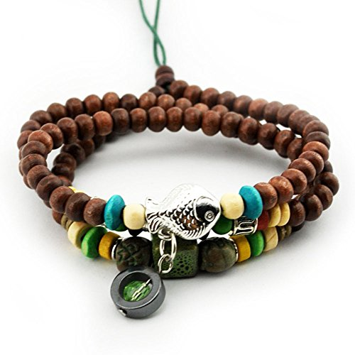 Winter's Secret Hematite Crystal Pendant Brown Wood Beaded Alloy Fish Religious Dual-use Wrap Bracelet (Canister Beaded)