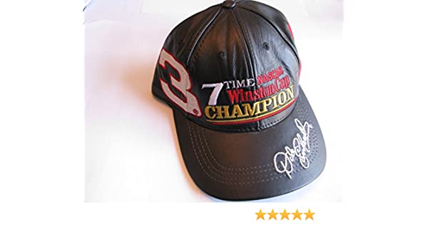 Amazon.com   Dale Earnhardt Sr  3 7 Time Black Leather Hat With White Red  Accents Hat Cap One Size Fits Most   Sports   Outdoors 6e1b05f8286d