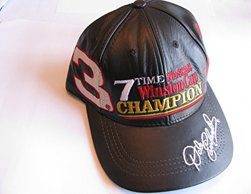19e3b90360b Dale Earnhardt Sr  3 7 Time Black Leather Hat With White Red Accents Hat Cap  One Size Fits Most