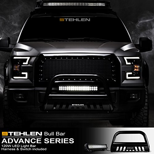 Stehlen 714937186170 3″ Classic Series Bull Bar (Black) with 120W Cree LED Lights Bar