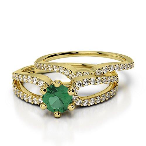 Or jaune 18carats 0,50CT G-H/VS sertie de diamants ronds découpé Émeraude et de mariage Bague de fiançailles et ensemble de Agdr-1148