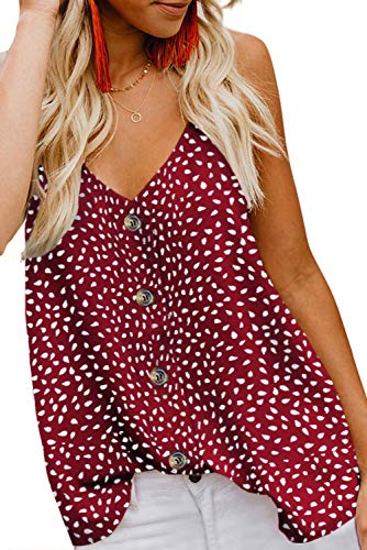 Red Polka Dot High Heels - FARYSAYS Women's Summer Button Down V Neck Polka Dot Strappy Tank Tops Sleeveless Shirts Blouses Red Medium