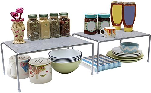Helper Shelf Cabinet Organizer - DecoBros Expandable Stackable Kitchen Cabinet and Counter Shelf Organizer,Silver