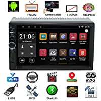 Autoradio Bluetooth, Parkomm 7 Pulgadas 2 DIN Estéreo de automóvil con Pantalla Táctil, Android 7.1 Multimedia MP5 con navegación GPS, Support Mirrorlink/Bluetooth / BT/WiFi / Am/FM / USB/Aux