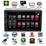 Parkomm 7 Inch Double Din Bluetooth Car Stereo with HD Touch Screen, Android 7.1 Car Stereo with GPS Navigation, Supports Mirrorlink/Bluetooth/BT/WIFI/AM/FM/USB Aux Input and Rear Camera Input