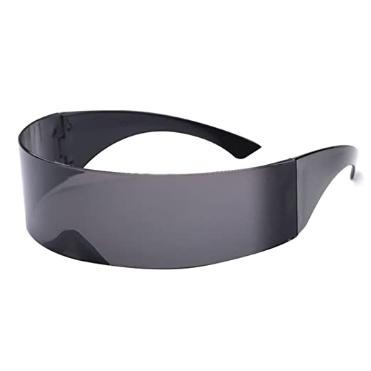 cf1d20c8f0f4a Amazon.com  Futuristic Cyclops Monoblock Shield Mirrored Sunglasses ...