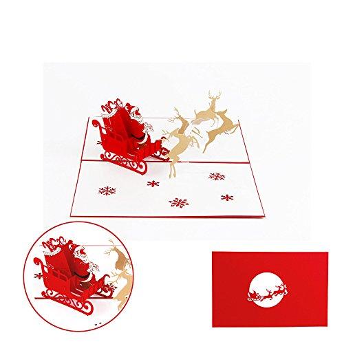 Love Elk - Prime Sale Day Deals Week 2018- ValentoriaChristmas GreetingCards,3D Pop Up I Love Mom Handmade Luck Best Wish Greeting Card Kirigami Paper Craft (Chirstmas Elk)