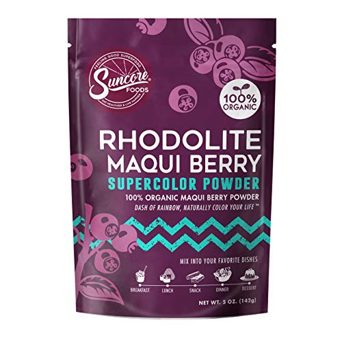 Suncore Foods – Organic Rhodolite Maqui Berry Supercolor Powder, 5oz – Natural Maqui Berry Food Coloring Powder, Plant Based, Vegan, Gluten Free, Non-GMO 1