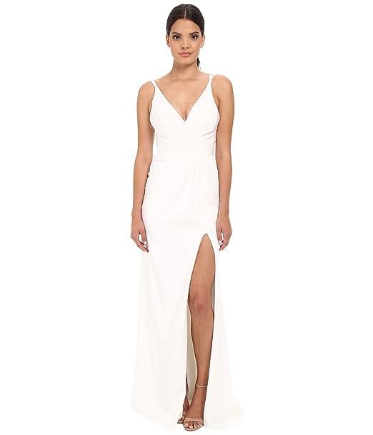 Amazon.com: Faviana Womens Faille Satin V-Neck Gown With Draped Skirt: Clothing