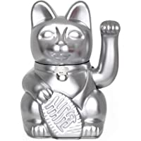 Gato de la Suerte chino. Lucky Cat. Maneki Neko. COLOR PLATA 10x6x15cm