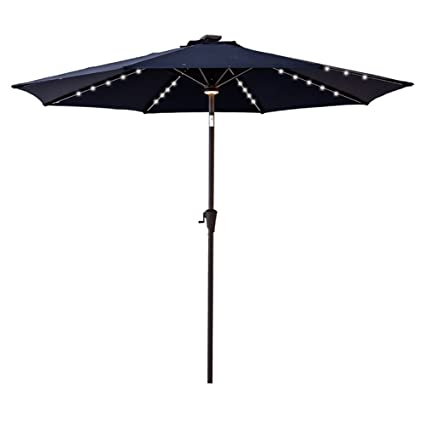 Flame Shade 9 Outdoor Market Umbrella With Solar Led Lights And Tilt For Patio Table Balcony Terrace Or Garden Deck Navy Blue