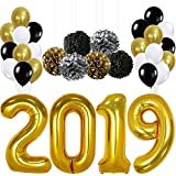 2019 Balloons, Gold for New-Year, Large | Black Gold and White Balloon Kit | New Years Eve Party Supplies 2019 | Graduations Party Supplies 2019 |  New Years Party Decorations, Graduation Decorations