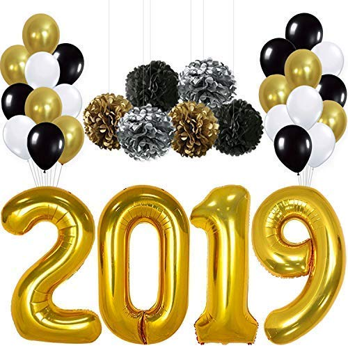 2019 Balloons, Gold for New-Year, Large | Black Gold and White Balloon Kit | New Years Eve Party Supplies 2019 | Graduations Party Supplies 2019 |  New Years Party -