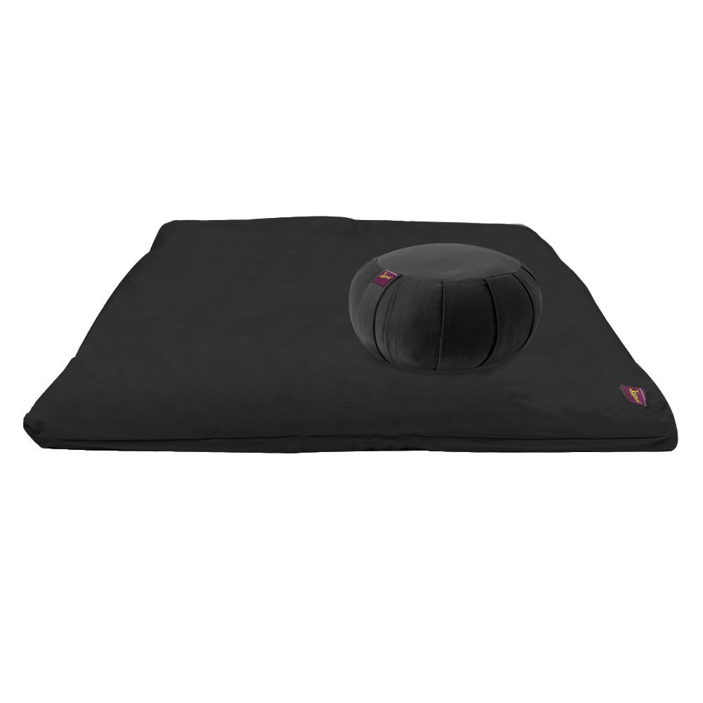 Premium Studio Style Yoga and Meditation Kit - Black Zabuton & Black Round Zafu with Buckwheat Hulls by Yogavni(TM) by YogavniTM (Image #1)