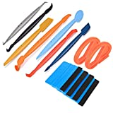 ARTGEAR 7pcs Magnetic Micro Stick Squeegee + 4pcs Black Felt Squeegee + 2pcs Snitty, Vehicle Vinyl Application Tool Kit with 14 Working Angles, for Installing Auto Wraps and Car Stickers