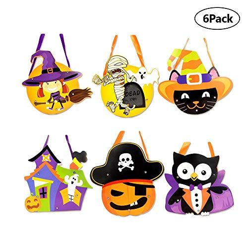 FOONEE Halloween Party Supplies, 6 Pieces Halloween Candy Totes Gift Bag, DIY Trick Treat Gift Bag Halloween Themed Pattern -