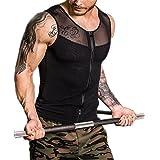 Men Body Shaper Shapewear Slimming Vest Compression Tank Top Shirt Undershirt Zipper for Sport Workout Gym