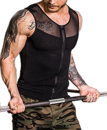 ssion Shirt to Hide Gynecomastia Moobs Chest Body Slimming Undershirt Shapewear Slimming Waist Trainer Vest Gynecomastia Vest (Medium) (Zip Front Sweater Vest)