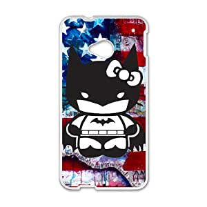 Hello Kitty And Bat Man Funny White HTC M7 case