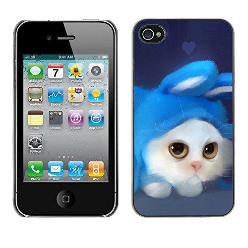 LASTONE PHONE CASE / Coque Housse Etui Shock-Absorption Bumper et Anti-Scratch Effacer Case Cover pour Apple Iphone 4 / 4S / White Cat Rabbit Costume Art Drawing Blue