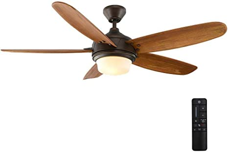 Home Decorators Collection Breezmore 56 In Led Indoor Mediterranean Bronze Ceiling Fan With Light Kit And Remote Control Amazon Com