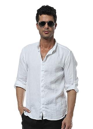 Insun Herren Hemd Kragen Mode Einfarbig Freizeithemd Longsleeve Shirts  Bluse Weiß 40
