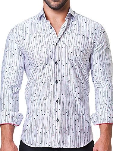 Maceoo Mens Designer Dress Shirt - Stylish & Trendy - Fibonacci Vegas White - Tailored Fit (Shirt Cotton Collar Italian Dress)
