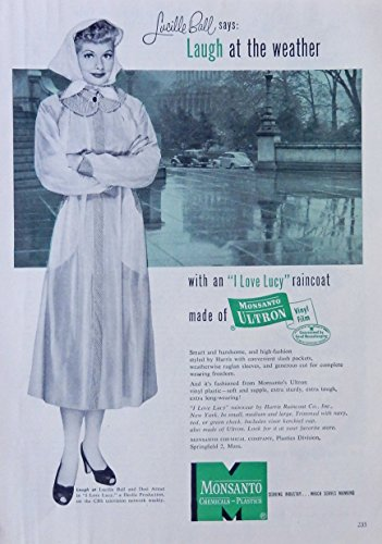 lucille-ball-50s-print-ad-color-illustration-scarce-old-ad-monsanto-raincoat-original-1953-good-hous