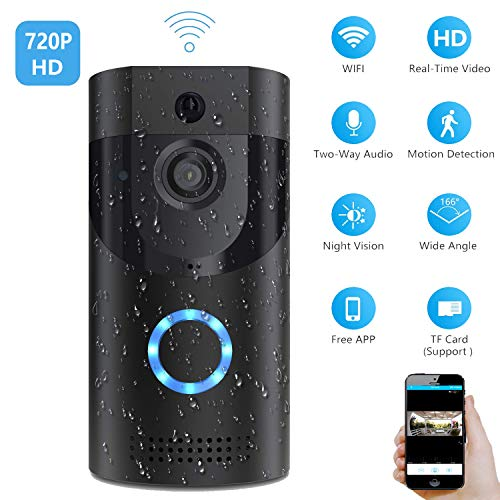 Smart Video Doorbell, Wonbo 720P HD WiFi Security Camera, Real-time HD Monitoring, Waterproof, Two-Way Communication and Remote App Control (Black) ()