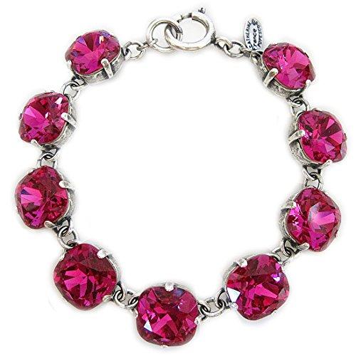 "Catherine Popesco Silvertone Crystal Round Bracelet, 7.25"" Fuchsia 1696"