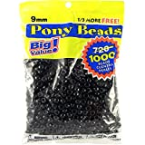 Darice 06121-2-04 Pony Beads 9mm 1,000/Pkg Opaque Black