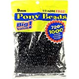 Darice Black, 9m Opaque Pony Craft Projects for All Ages Jewelry, Ornaments, Key Chains, Hair Round Plastic Center Hole, 9mm Diameter, 1,000 Beads Per Ba, 1000