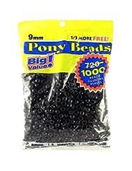 Darice 06121-2-04 Pony Beads 9mm 1,000/Pkg Opaque Black