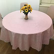 ZnzbztThick waterproof large round-table cloth home hotel waterproof oil resistant iron resting against money-round-table cloth PVC plastic round table cloth,182 pink tablecloths size, 180cm Diameter Circle