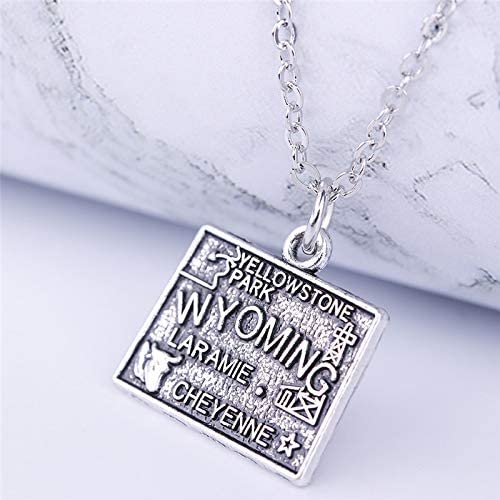 United States State Wyoming Map Necklace Pendant Double-Sided Charm Overview State Alloy Zinc Necklace Gift