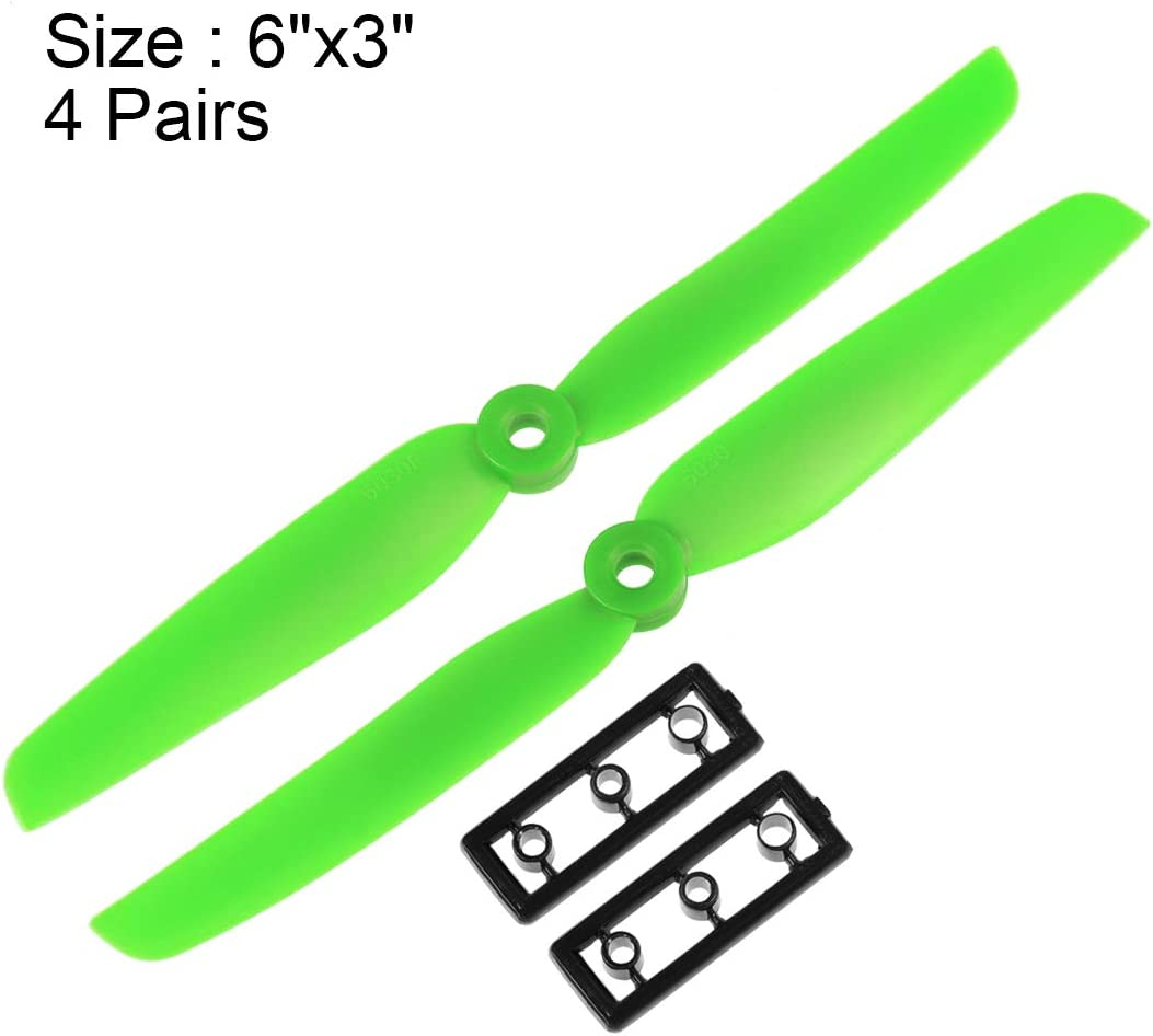 uxcell RC Propellers 6030 6x3 Inch CW CCW 2-Vane for Quadcopter Hexacopter Multirotor Green 4 Pairs with Adapter Rings