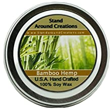 Premium 100% All Natural Soy Wax Aromatherapy Candle -2oz. Tin: Scent: Bamboo Hemp An incredibly well-balanced blend of bamboo stalks, vetiver, and patchouli, with undertones of hemp seed and oak moss. Naturally Strong, Highly Scented. by Stand Around Creations