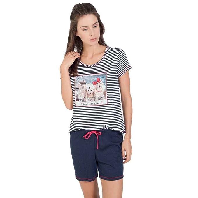 MASSANA pijama de mujer listado manga corta P181218 - MARINO, M